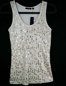 APT9 Cream & Gold Sequence Tank Top Size S